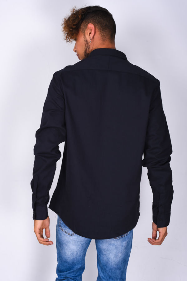 Navy Chest Pocket Button Up Shirt