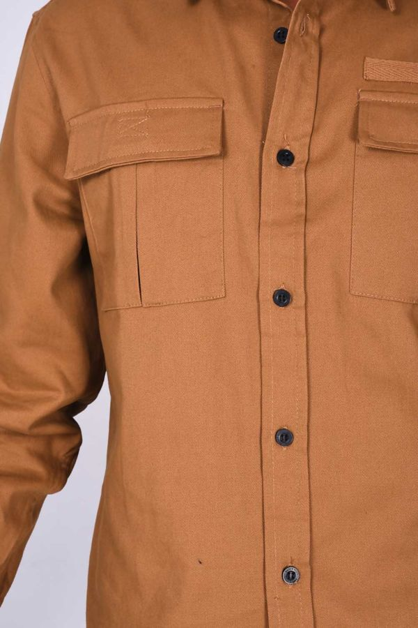 Camel Chest Pocket Button Up Shirt