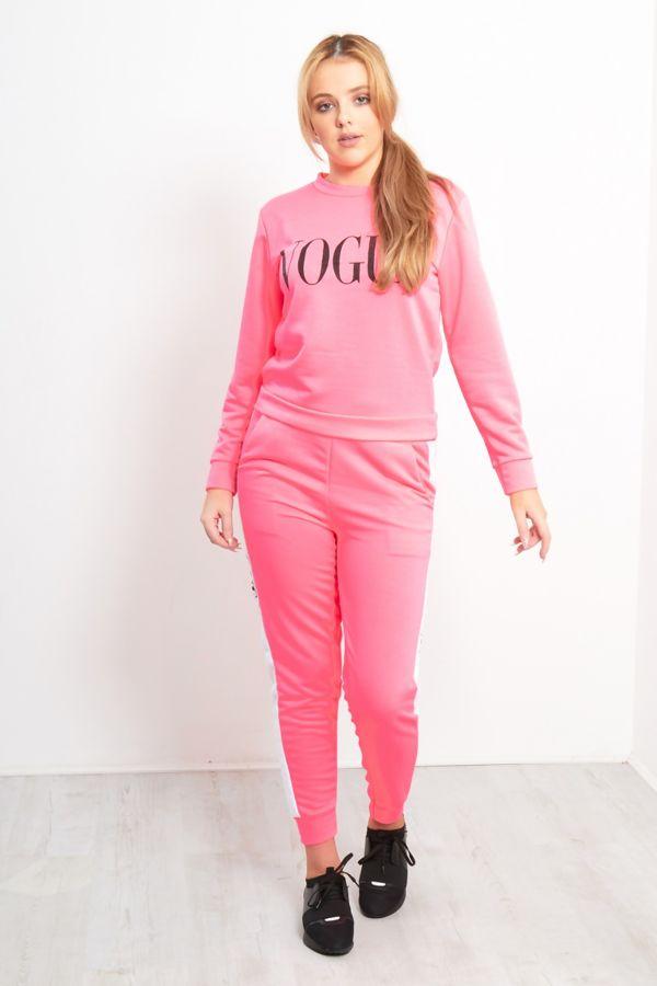 Neon Pink VOGUE Print Tracksuit