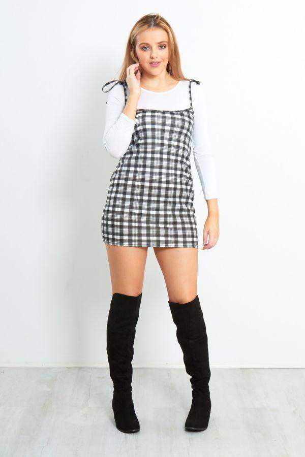 Check Print Bodycon Mini Dress