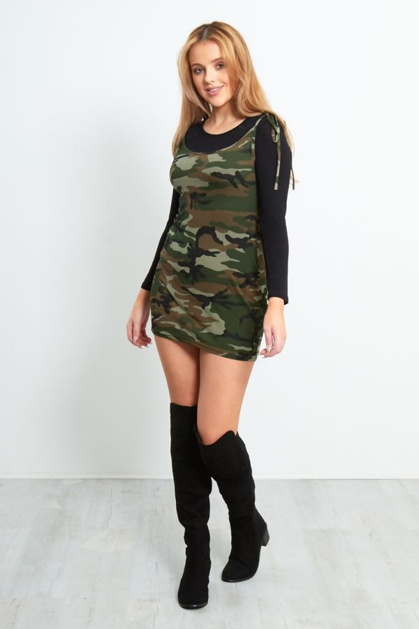 Camo Print Bodycon Mini Dress