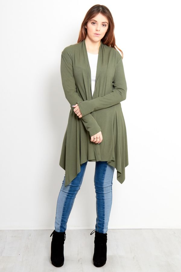 Khaki Rib Waterfall Cardigan
