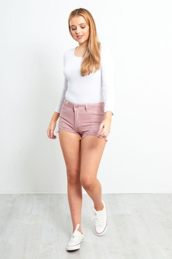 Dusty Pink Ripped Frayed Hem Shorts