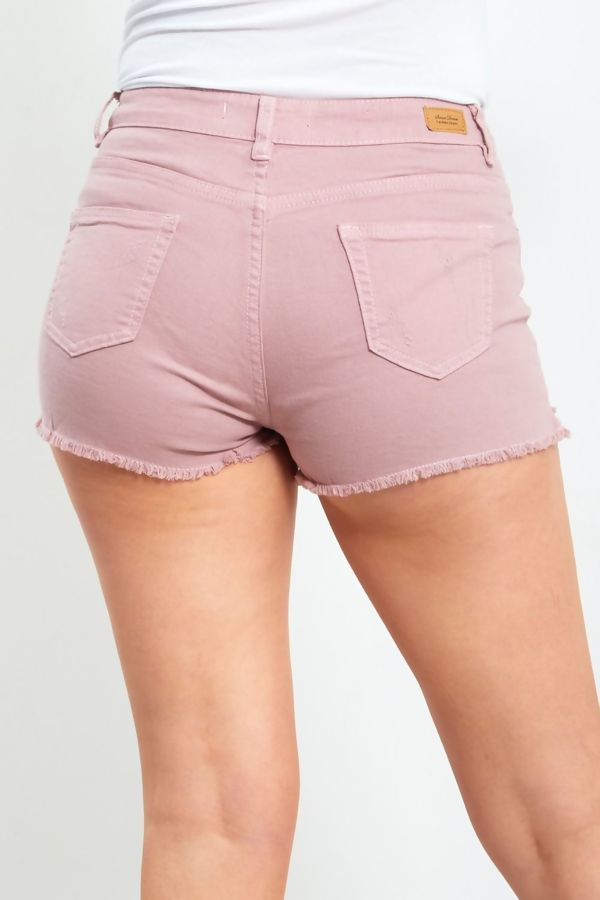 Dusty Pink Jeans Ripped Detail Shorts