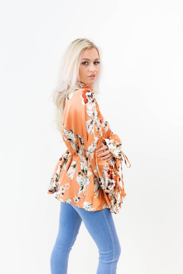 Collar Wrap Over Frill Sleeve Floral Top