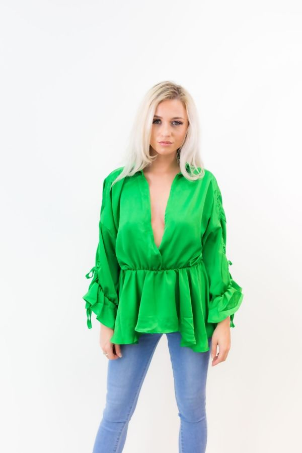 Collar Wrap Over Frill Sleeve Top