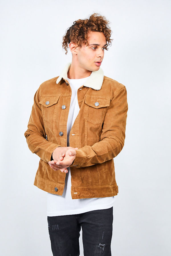 Contrast Borg Collar Cord Jacket
