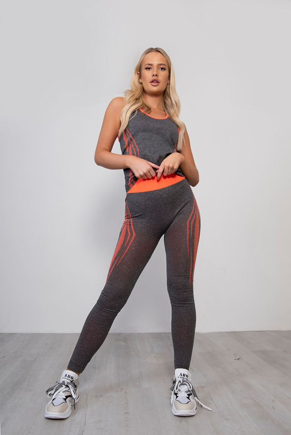 Contrast Panel Vest And Leggings Gym Set
