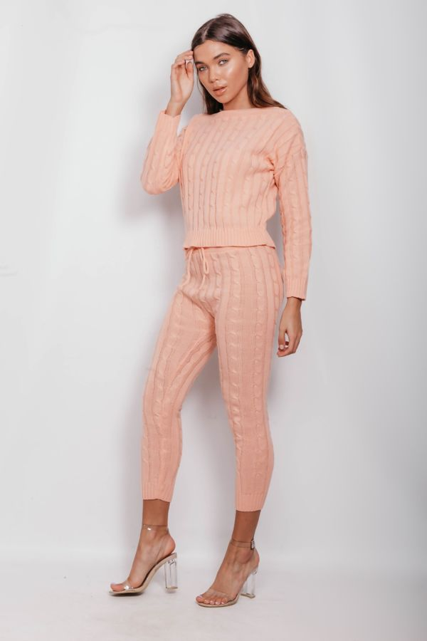 Coral Cable Knit Long Sleeve Cropped Top And Legging Lounge Set