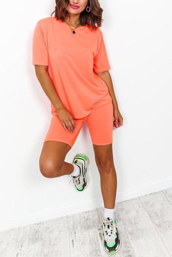 Coral T-shirt and Cycling Shorts Set