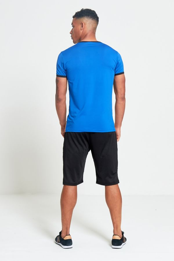 Blue Polyester Sports T-Shirt and Short Set