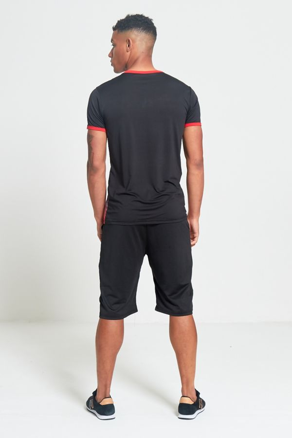 Red Polyester Sports T-Shirt and Short Set