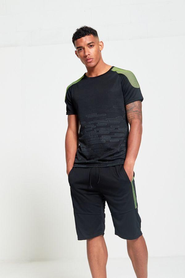 Ribbed Shoulder Panel T-Shirt and Short Set