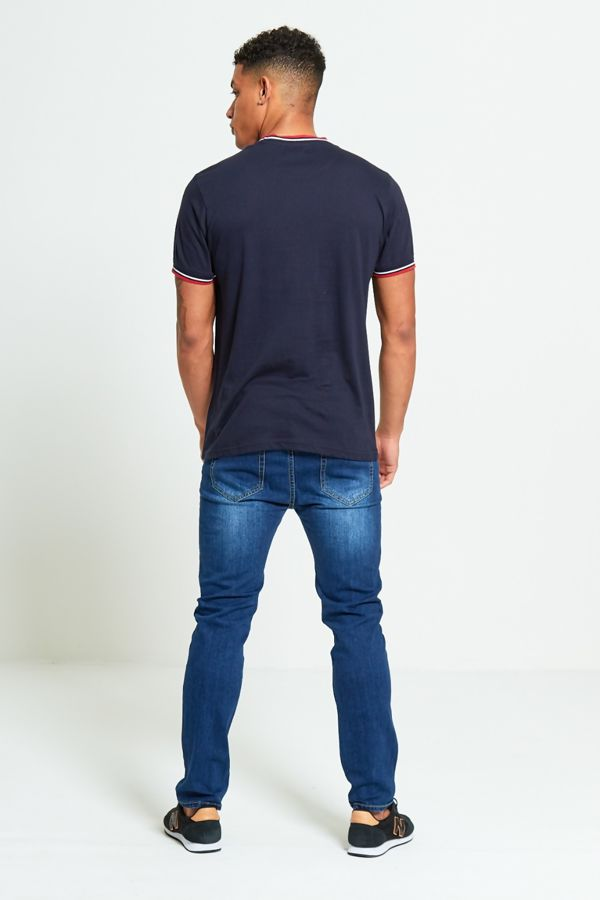 Navy Contrast Bird T-Shirt