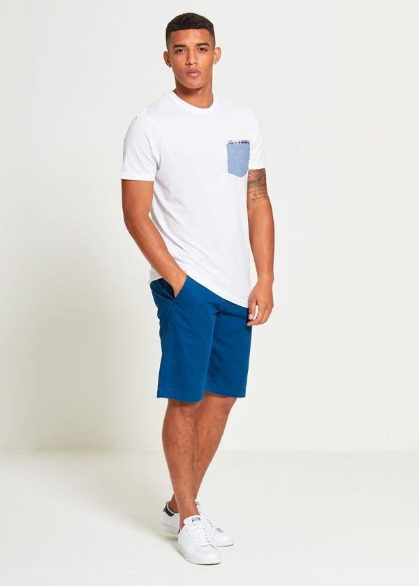 Blue Basic Kneecap Shorts