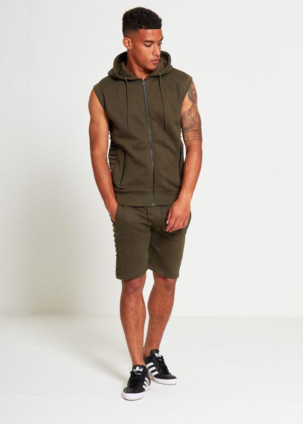 Khaki Ribbed Padding Hood Shorts Set