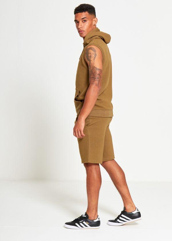 Khaki Ribbed Sleeveless Shorts Set