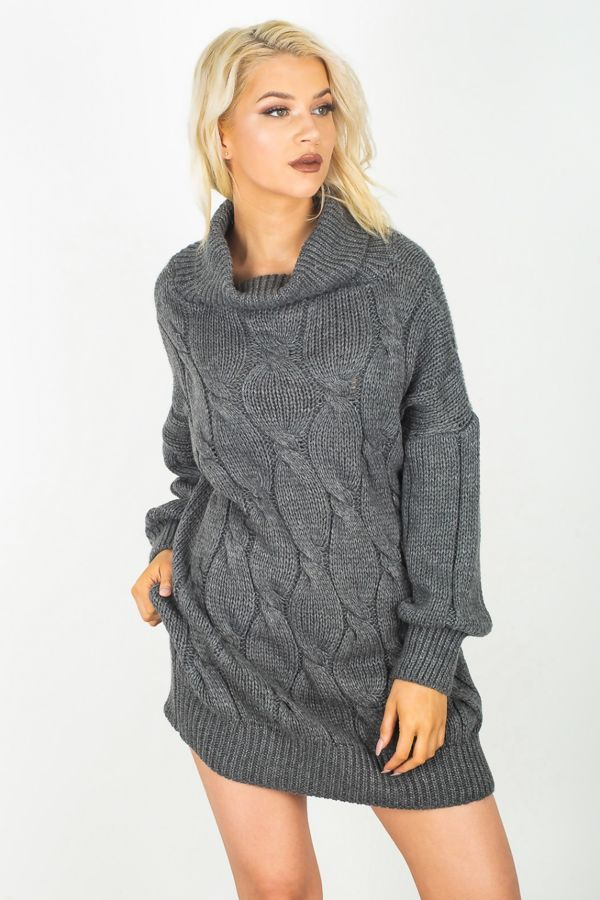 Cowl Cabel Knitted Jumper Dress