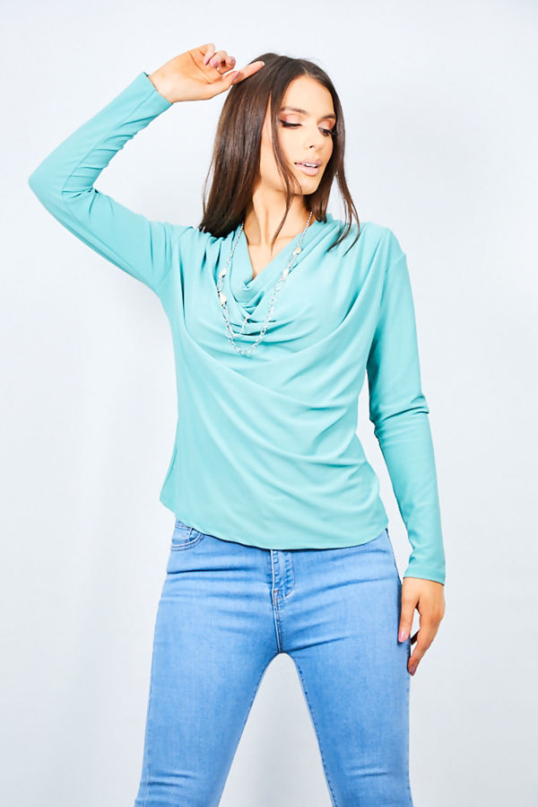 Cowl Neck Lond Sleeve Necklace Blouse