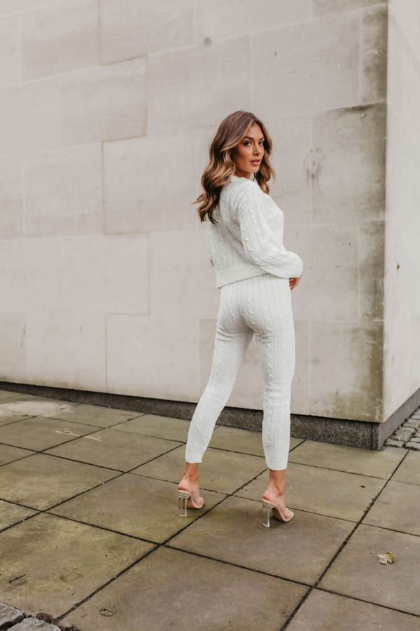 Cream Cable Knit Long Sleeve Cropped Top And Legging Lounge Set