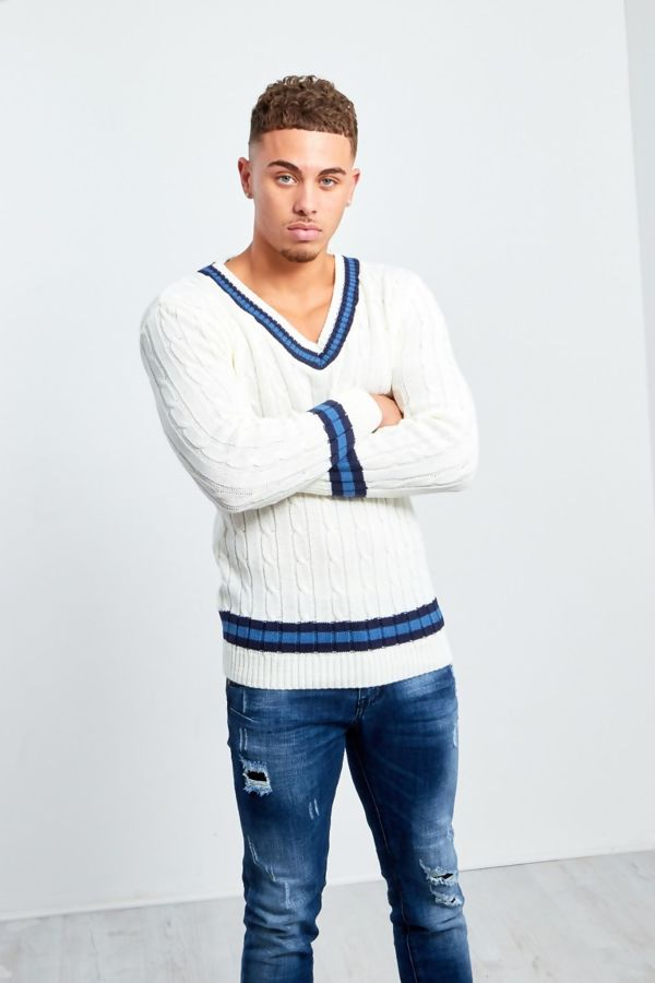 Cream Cable Knitted V Neck Cricket Jumper