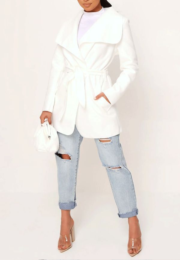 Cream Cropped Waterfall Coat