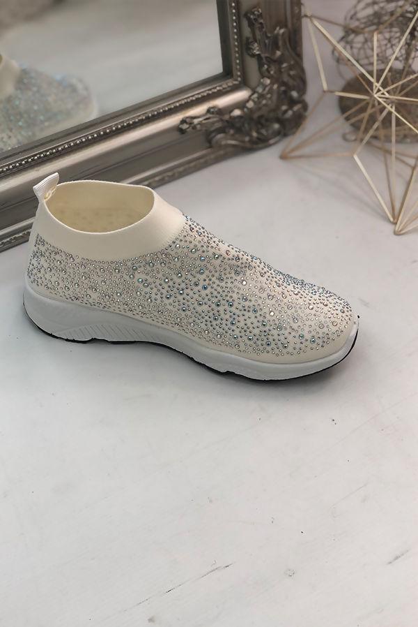 Cream Embellished Sock Trainers