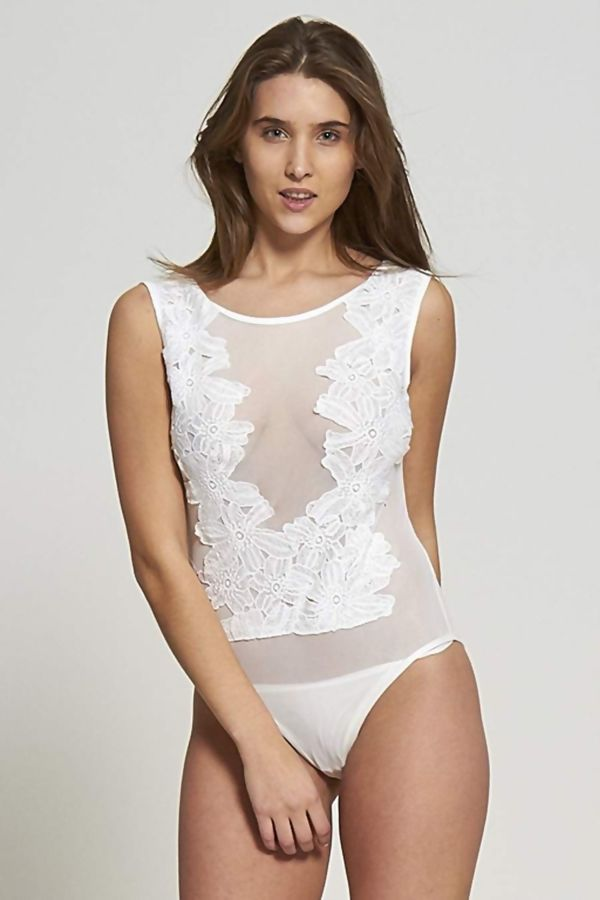 Cream Floral Mesh Body Suit
