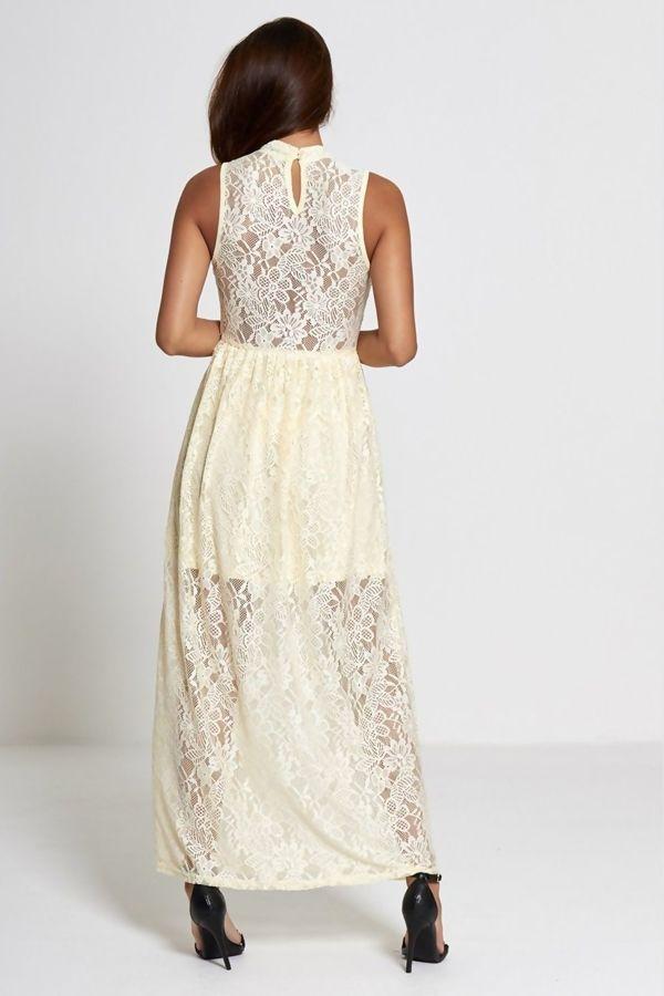 Cream High Neck Floral Lace Maxi Dress