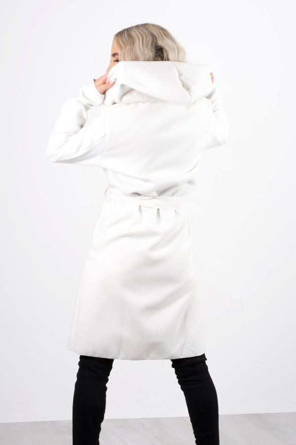 Cream Hooded Belted Shawl Coat