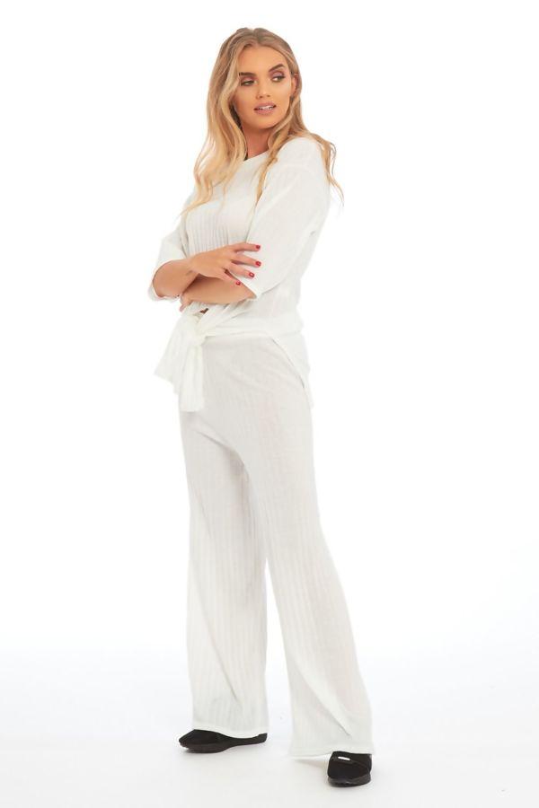 Cream Key Knot Wide Leg Trouser Co-Ord Set