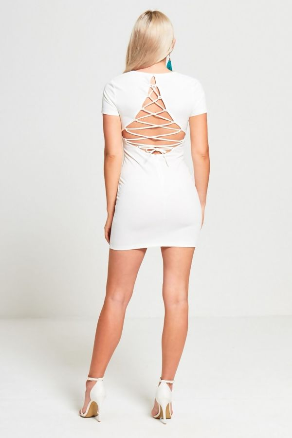 Cream Lace Back Mini Dress