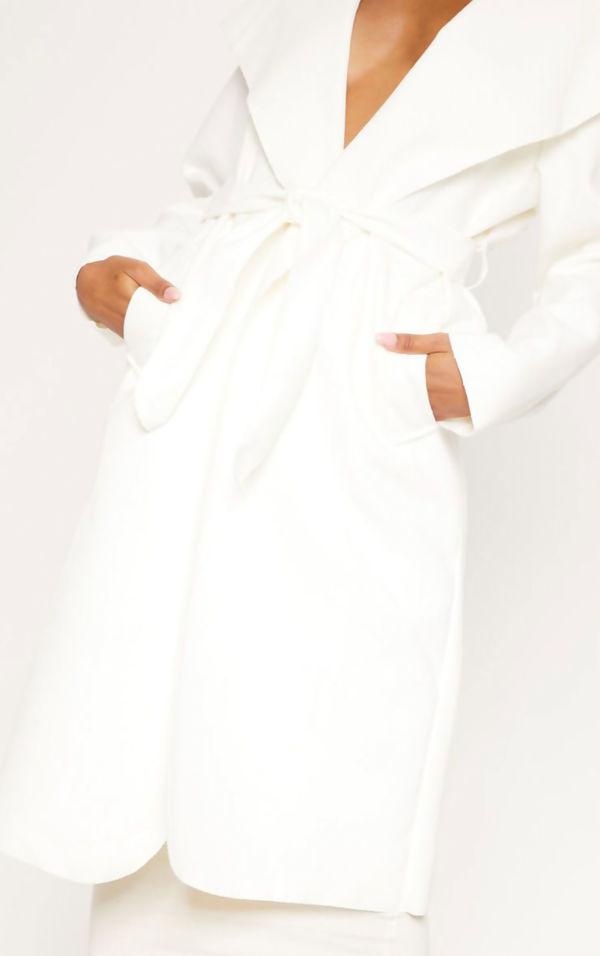 Cream Long Waterfall Duster Coat