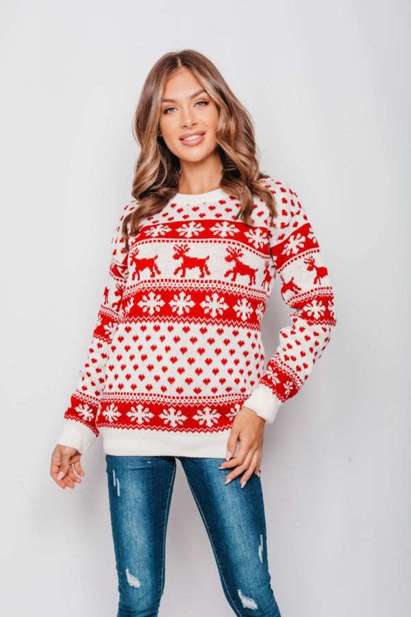 Plus Size Cream Reindeers and Snow Flake Christmas Jumper