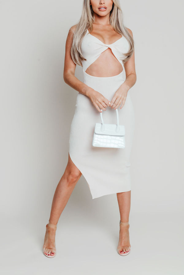 Cream Ribbed Twist Front Cut Out Dress