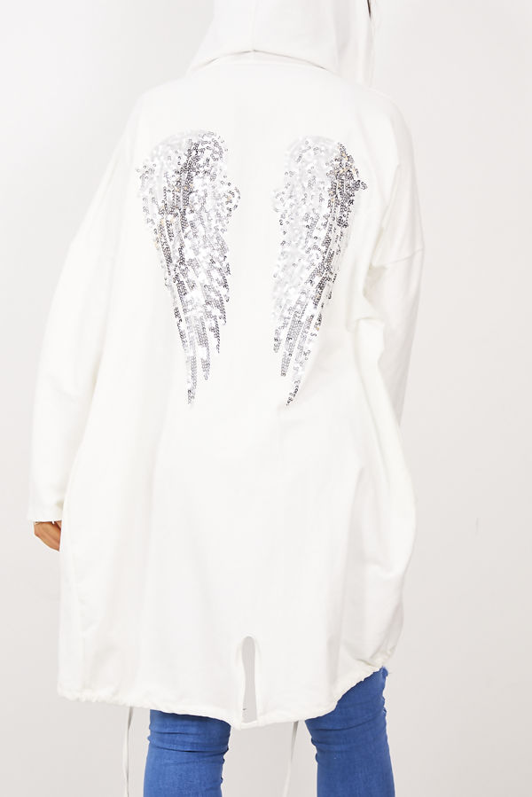 Cream Sequin Angel Wing Hooded Cardigan