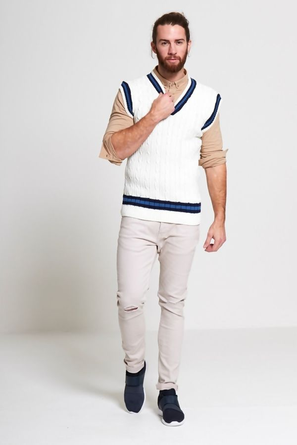 Cream Sleeveless Cable Knitted V Neck Cricket Jumper