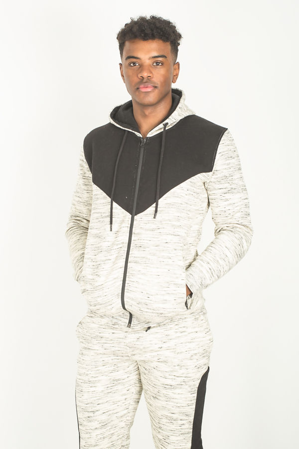 Cream Space Dye Spliced Panel Skinny Fit Tracksuit