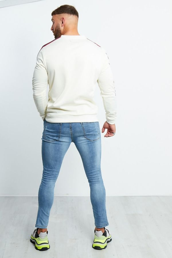 Cream Zipped Pocket Front Striped Sleeve Jumper