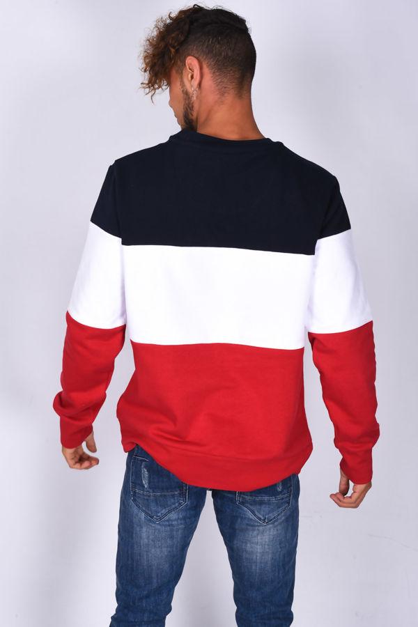 Navy Crew Neck Colourblock Sweatshirt