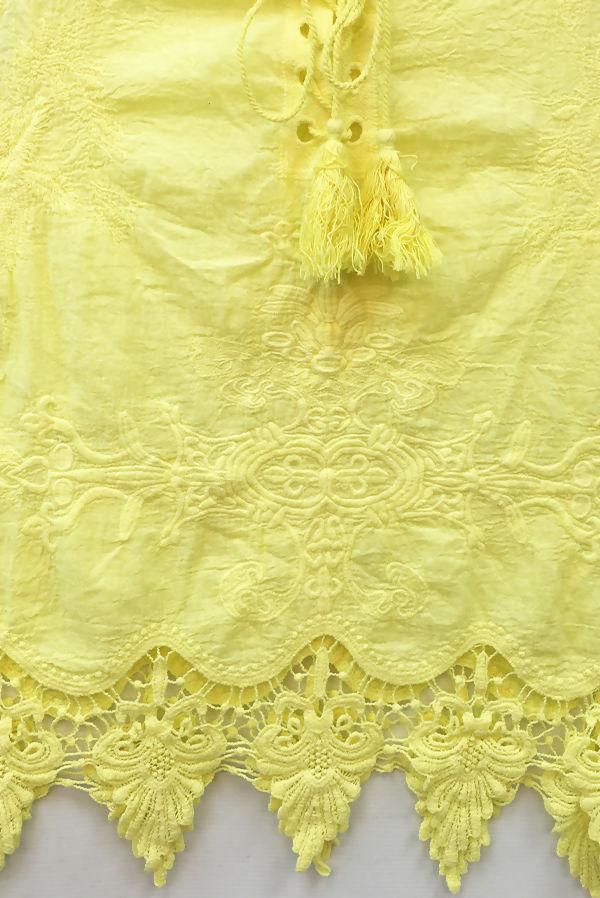 Crochet Hem Tassel Tie Sleeveless Top
