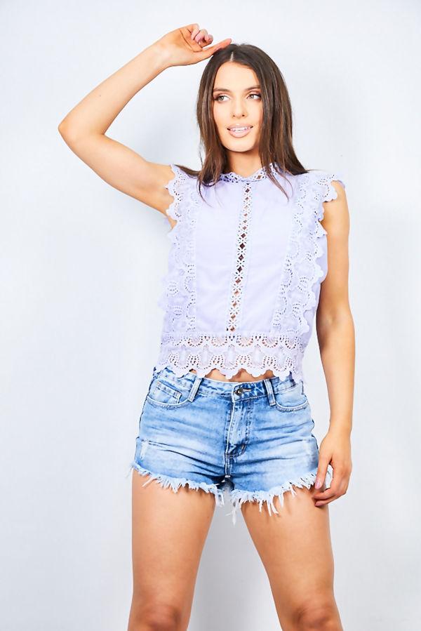 Beige Crochet Mandarin Top