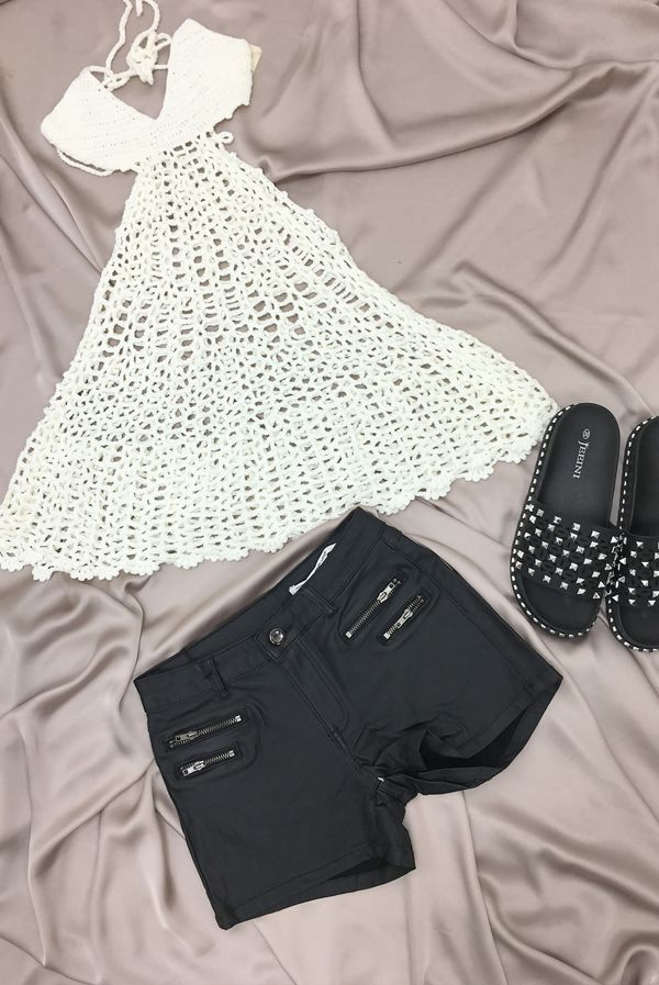 Cream Crochet Beachwear Top