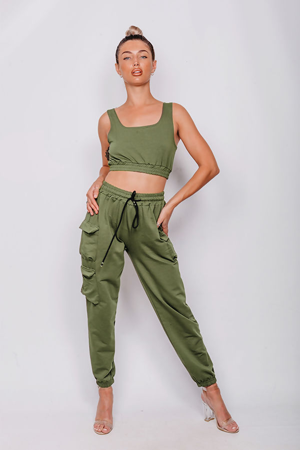 Crop Top And Cargo Jogger Lounge Set
