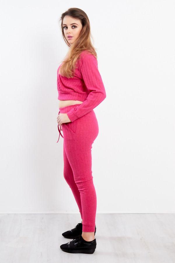 Cropped V-Neck Ribbed Loungewear Set