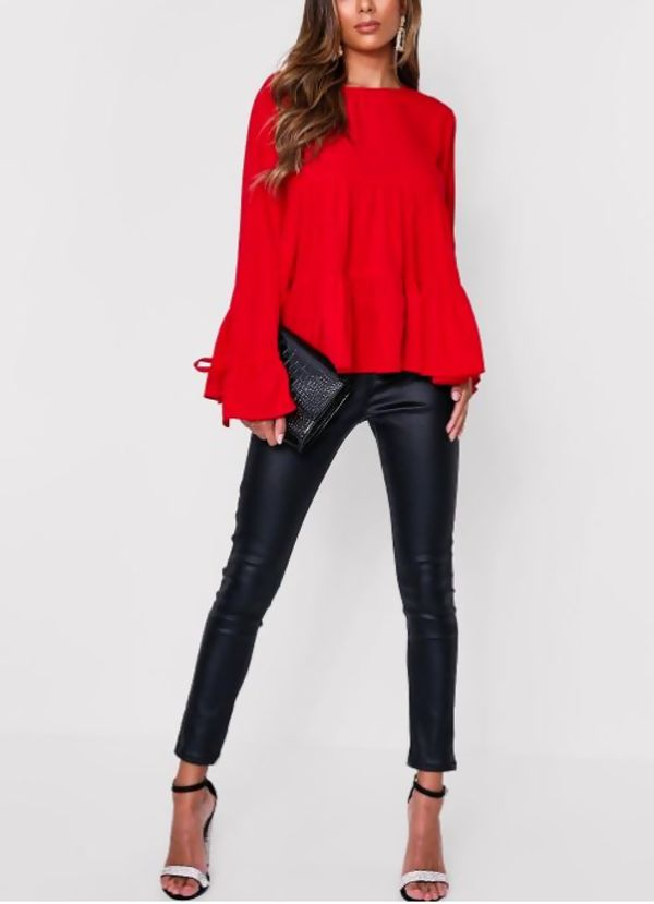 Red Long Sleeve Tiered Frill Smock Top