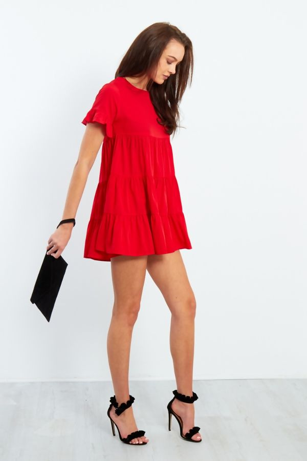 Red Short Sleeve Frill Dress