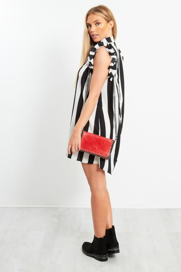 Black Striped Frill Sleeve Shirt Dress