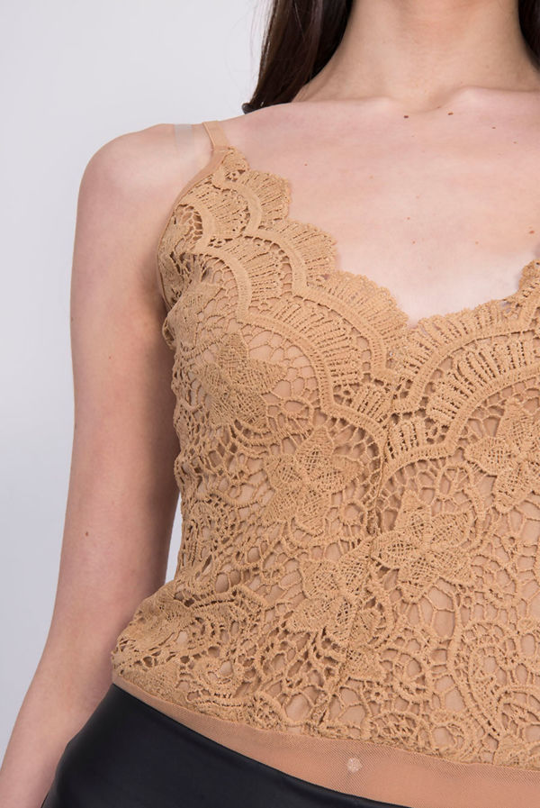 Camel Crochet Lace Detail Bodysuit