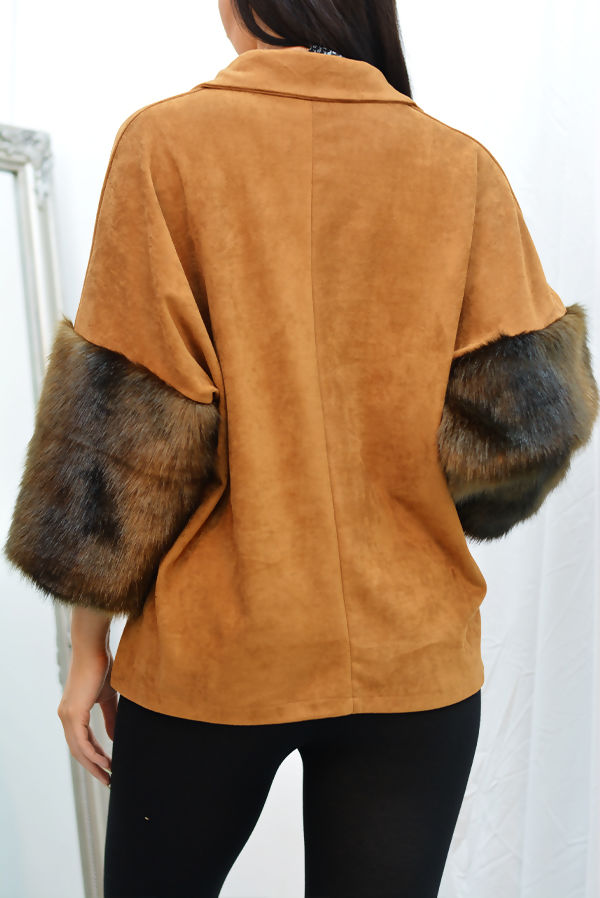 Camel Suede Faux Fur Cuff Collar Poncho